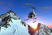image of helicopter  - Civilian helicopter over the mountains - JPG