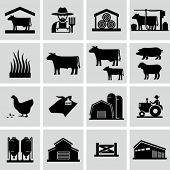 stock photo of silos  - Farming icons - JPG