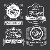 stock photo of black tea  - Vintage Coffee and tea labels - JPG