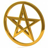 stock photo of pagan  - Illustration ofolden pentagram sign isolated on white background - JPG
