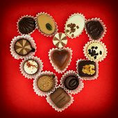 Valentine's Heart Made Of Luxury Chocolate Pralines