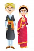 stock photo of karnataka  - easy to edit vector illustration of wedding couple of Karnataka - JPG