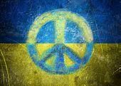 Grunge Ukrainian Flag Illustration With A Peace Sign. Peace Concept