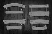 Grey Wooden Vector Banners And Ribbons Hanging On Ropes