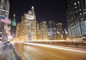 CHICAGO, IL - OCT 5: Chicago downtown at night on October 5, 2011 in Chicago, Illinois. Chicago is t