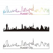 Kuwait City Skyline Linear Style With Rainbow