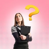 Young Student Thinking Over Pink Background