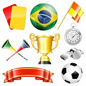 stock photo of prize  - Soccer Symbols with Brazil Ball Ribbon Flag and Trophy isolated on white background vector - JPG