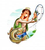 image of fisherman  - Fisherman and fish - JPG