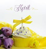Beautiful Yellow Spring Or Easter Theme Cupcake With Seasonal Flowers Tulips And Decorations For The