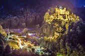 Hohenschwangau Castle at night in the Bavarian Alps of Germany.