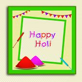 Indian festival Happy Holi celebrations concept with beautiful colours in a green frame on abstract background.