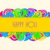 Indian festival Happy Holi celebrations concept with stylish text on colours splash background.