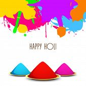 Indian festival Happy Holi celebrations with colours on white background.