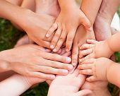 stock photo of family bonding  - Family holding hands together closeup - JPG