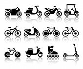 image of vespa  - Motorcycles and bicycles set of black icons - JPG