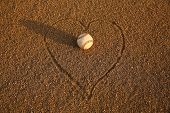 picture of infield  - Baseball surrounded by a Heart in the Infield - JPG