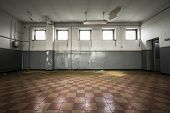 Old Empty Room, Checkered Tile Floor