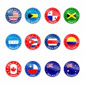 picture of south american flag  - Set of Round Flags of South and North America - JPG