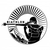 Biathlon. Shooting. Vector illustration in the engraving style