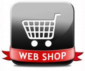 web shop button or online shopping icon for internet webshop or store