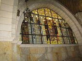 Stained-glass Window At Church Of The Flagellation And The Second Station Stop Jesus Christ On Via D