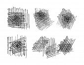 grunge crosshatching drawing textures set. vector eps 8