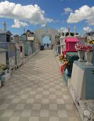 picture of graveyard  - a colorful graveyard scenery in Campeche Mexico - JPG