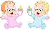 stock photo of twin baby girls  - Happy baby girl and baby boy holding bottles - JPG