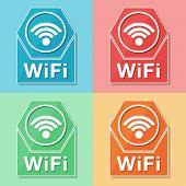 Wifi Symbol, Four Colors Web Icons