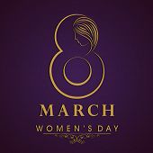 Happy Women's Day celebrations concept with stylish golden text on purple background.