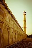 Beautiful minaret during sunrise at Taj Mahal in Agra, India