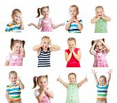 picture of emotions faces  - collection of kids with different positive emotions isolated on white background - JPG