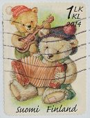 Finland - Circa 2014 : A Stamp Printed In Finland Shows Teddy Bears Convey Peace And Love, Circa 201