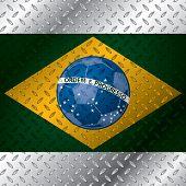 Abstract Brasil Flag On Metallic Plate