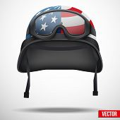 foto of army  - Military helmet and goggles with USA flag - JPG