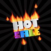 Vector Hot Sale Title In Flames. Burning Black Background.