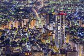Tokyo, Japan dense cityscape in Shinjuku Ward.