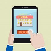 minimalistic illustration of booking a hotel room on a mobile device, eps10 vector
