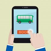 minimalistic illustration of booking a bus ticket on a mobile device, eps10 vector