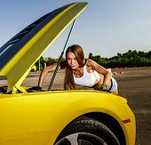 Luxury Glamour Girl And Yellow Sport Car