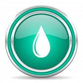 water drop green glossy web icon