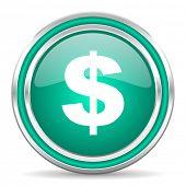 dollar green glossy web icon