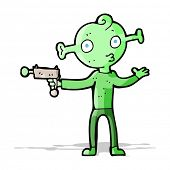 cartoon alien with ray gun