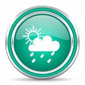 rain green glossy web icon