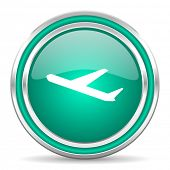 deparures green glossy web icon