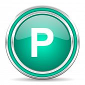parking green glossy web icon