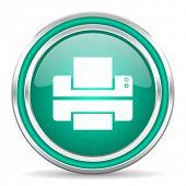 printer green glossy web icon