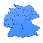 3D Map Of Germany In Blue