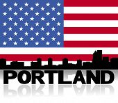 Portland skyline and text reflected with American flag vector illustration